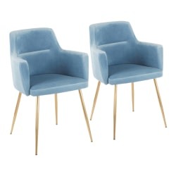 LumiSource Andrew Dining Chairs, Gold/Light Blue, Set Of 2 Chairs