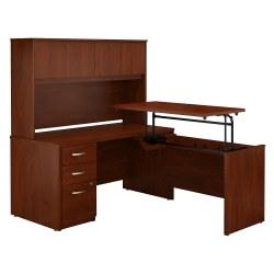 """Bush Business Furniture Components Elite 60""""W 3 Position Sit to Stand L Shaped Desk with Hutch and 3 Drawer File Cabinet, Hansen Cherry, Standard Delivery"""