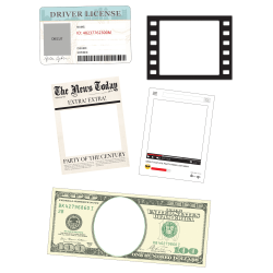 """Amscan Fun Frames Photo Booth Props, 14-1/2"""" x 17"""", Pack Of 5 Props"""