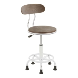 Lumisource Dakota Task Chair, Vintage White Metal/Espresso