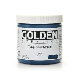 Golden Heavy Body Acrylic Paint, 16 Oz, Turquoise (Phthalo)