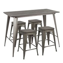 LumiSource Oregon Contemporary Table With 4 Stools, Antique Metal/Espresso