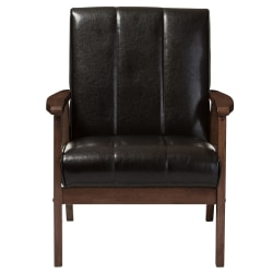 Baxton Studio Luisa Lounge Chair, Dark Brown/Cocoa