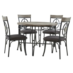 Powell Mosley 5-Piece Dining Set, Black/Natural