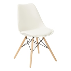 Ave Six Allen Guest Chair, White/Natural Wood