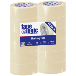 "Tape Logic® 2400 Masking Tape, 3"" Core, 2"" x 180', Natural, Pack Of 12"