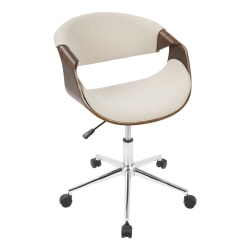 LumiSource Curvo Mid-Century Modern Mid-Back Chair, Cream/Walnut/Silver