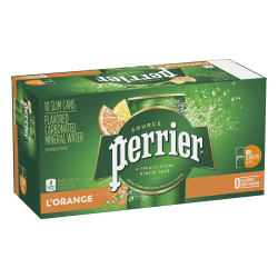 Perrier Sparkling Mineral Water, L'Orange/Lemon Orange, 8.45 Oz, Pack Of 10