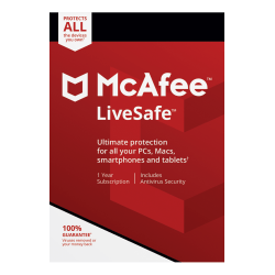 McAfee® LiveSafe™ AntiVirus Software, For PC/Mac®, iOS And Android, Unlimited Devices, 1-Year Subscription, Download