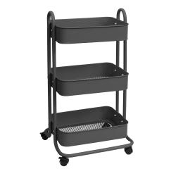 "We R Memory Keepers 3-Tier Steel Rolling Storage Cart, 36 1/2"" x 17"" x 17"", Gray"