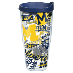 Tervis NCAA All-Over Tumbler With Lid, 24 Oz, Michigan Wolverines