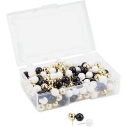 "U Brands Sphere Push Pins, Black, White and Gold, 200-Count (3084U06-24) - 0.44"" Shank - 0.38"" Head - 0.4"" Length x 0.4"" Width - 200 / Pack - Assorted - Steel, Plastic, Plastic"