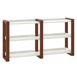 kathy ireland® Home by Bush Furniture Voss Console Table With Shelves, Cotton White/Serene Cherry, Standard Delivery