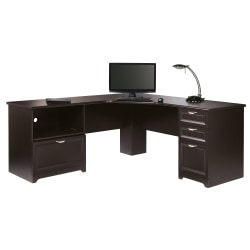 "Realspace® Magellan Performance 71""W L-Shaped Desk, Espresso"