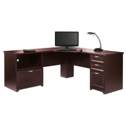 "Realspace® Magellan Performance 71""W L-Shaped Desk, Cherry"