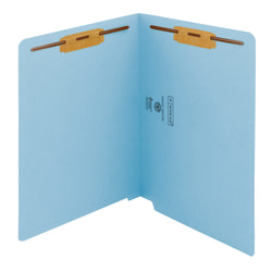 Smead® Color End-Tab Folders With Fasteners, Straight Cut, Letter Size, Blue, Pack Of 50