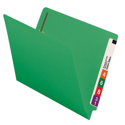 Smead® Color End-Tab Folders With Fasteners, Straight Cut, Letter Size, Green, Pack Of 50