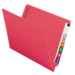 Smead® Color End-Tab Folders With Fasteners, Straight Cut, Letter Size, Red, Pack Of 50