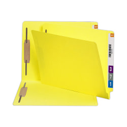 Smead® Color End-Tab Folders With Fasteners, Straight Cut, Letter Size, Yellow, Pack Of 50