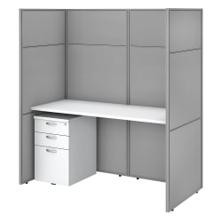 """Bush Business Furniture Easy Office 60""""W Cubicle Desk Workstation With File Cabinet And 66""""H Closed Panels, Pure White/Silver Gray, Standard Delivery"""