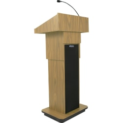 """AmpliVox S505A - Executive Adjustable Column Sound Lectern - Rectangle Top - Sculpted Base - 25"""" Table Top Width x 19"""" Table Top Depth - 45"""" Height - Assembly Required - High Pressure Laminate (HPL), Oak, Wood - Particleboard"""