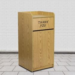 Flash Furniture Rectangular Wood Tray-Top Trash Receptacle, 36 Gallons, Oak