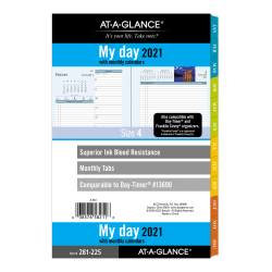 "AT-A-GLANCE® Daily/Monthly Planner Refill, 5-1/2"" x 8-1/2"", Zenscapes, January To December 2021, 281-225"