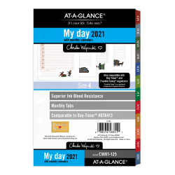 """AT-A-GLANCE® Daily/Monthly Planner Refill, 5-1/2"""" x 8-1/2"""", Charles Wysocki, January To December 2021, CW81-125"""