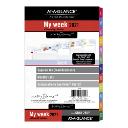 """AT-A-GLANCE® Weekly/Monthly Planner Refill, 5-1/2"""" x 8-1/2"""", Kathy Davis, January To December 2021, KD81-285Y"""