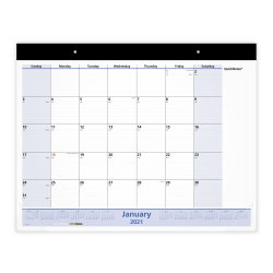 "AT-A-GLANCE® QuickNotes 13-Month Monthly Desk Pad Calendar, 22"" x 17"", January 2021 To January 2022, SK70000"