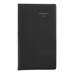 "AT-A-GLANCE® DayMinder Weekly Planner, 3-1/2"" x 6"", Black, January To December 2021, SK4800"