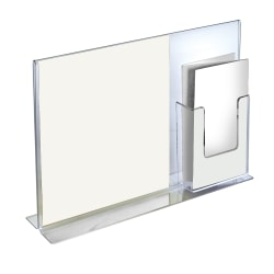 """Azar Displays Double-Foot Sign Holders, With Trifold Pocket, 11""""H x 14""""W x 3 3/8""""D, Clear, Pack Of 2 Holders"""
