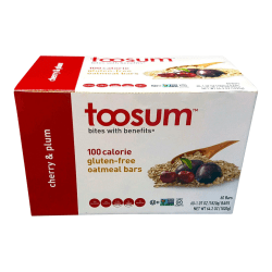 Toosum Healthy Foods Oatmeal Bars, Cherry and Plum, 1.07 Oz, Pack Of 60 Bars