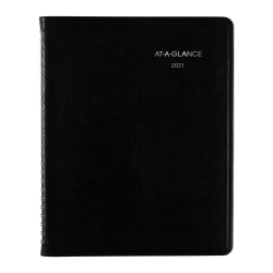 "AT-A-GLANCE® Weekly/Monthly Planner, DayMinder Executive With Notes, 7"" x 8-3/4"", Black, January to December 2021, G54600"