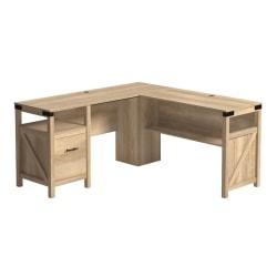 """Sauder® Bridge Acre 60""""W L-Shaped Computer Desk, Orchard Oak"""