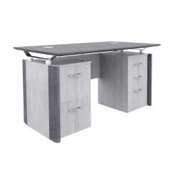 "Forward Furniture Allure 30""W Double Pedestal Desk, Stormy Gray/Ashwood White"