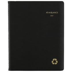 "AT-A-GLANCE® Weekly/Monthly Appointment Book/Planner, 8-1/4"" x 11"", 100% Recycled, Black, January to December 2021, 70950G05"