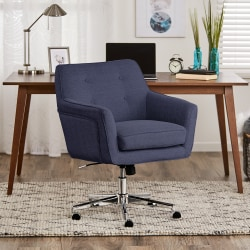 Serta® Ashland Home Mid-Back Office Chair, Twill Fabric, Blue/Chrome