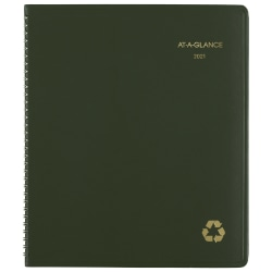 """AT-A-GLANCE® 13-Month Recycled Monthly Planner, 9"""" x 11"""", 100% Recycled, Green, January 2021 To January 2022, 70260G60"""