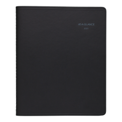 "AT-A-GLANCE® QuickNotes Weekly/Monthly Appointment Book, 8"" x 10"", Black, January To December 2021, 760105"
