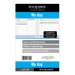 "AT-A-GLANCE® 2-Month Daily Planner Refill, 8-1/2"" x 5-1/2"", White, Undated, 031-2"
