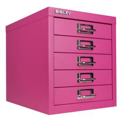 "Bisley 5-Drawer Steel Cabinet, 13""H x 11""W x 15""D, Fuchsia"