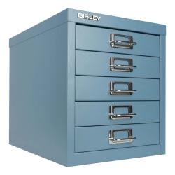 "Bisley 5-Drawer Steel Cabinet, 13""H x 11""W x 15""D, Steel Blue"