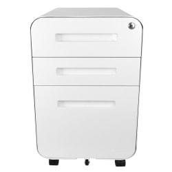"Bindertek Glide 20""D Vertical 3-Drawer File Cabinet, Metal, White"