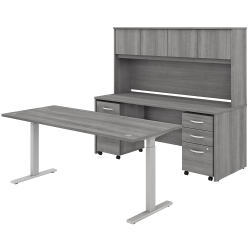 "Bush Business Furniture Studio C 72""W x 30""D Height-Adjustable Standing Desk, Credenza With Hutch And Mobile File Cabinets, Platinum Gray, Premium Installation"