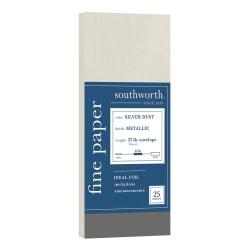 "Southworth® Metallic Envelopes, #10, 4"" x 10"", Silver Dust, Pack Of 25 Envelopes"