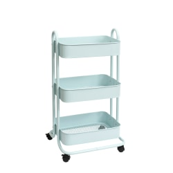"We R Memory Keepers 3-Tier Steel Rolling Storage Cart, 36 1/2"" x 17"" x 17"", Pale Blue"