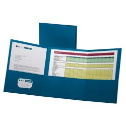 Oxford™ Tri-Fold Executive Pocket Folders, Letter Size, Blue, Pack Of 20