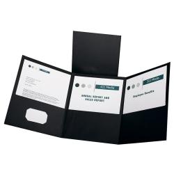 Oxford™ Tri-Fold Executive Pocket Folders, Letter Size, Black, Pack Of 20