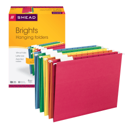 Smead® Hanging File Folders, 1/5-Cut Tab, Letter Size, Assorted Primary Colors, Box Of 25